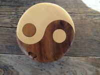 NICE SOLID WOOD HANDCRAFTED YIN YANG SECRET COMPARTMENT PUZZLE BOX