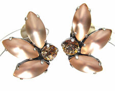 SoHo® Ohrclips vintage bohemia Glas geschliffene Kristalle light peach lachs