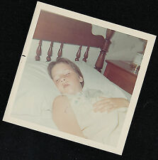 Old Vintage Photograph Adorable Little Girl Sound Asleep in Bed