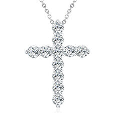 Silver Necklace Jewelry Cross Fashion crystal Cute Pretty charm nice 18inches