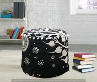 """Black & White  22"""" Indian Round Pouf Cover Bohemian Ottoman Footstool Seating"""