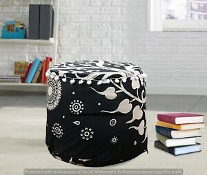 "Black & White  22"" Indian Round Pouf Cover Bohemian Ottoman Footstool Seating"