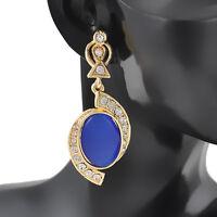 Womens Dangle Blue Crystal Rhinestone Elegant Ear Studs Earrings Eardrop Jewelry