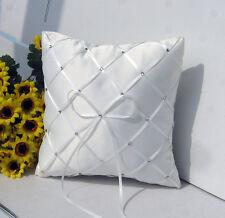White Wedding Ring Bearer Pillow Diamond ribbon bow diamante studs hand grip