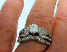18Kt wg Solid 1.20tcw VS2 Diamonds Wedding Set SZ 6.5+ Beautiful I-1799