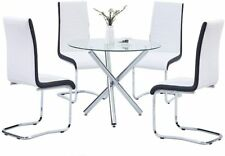 3/5 Piece Dining Table Set 2/4 Chair Glass Metal Kitchen Home Room Breakfast New