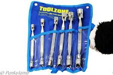 6pc Flexi Head Box Socket Spanner Wrench Double Ended 8mm-19mm Garage Tool Set