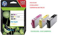 HP 364 Original Inks Cartridges 4 Pack Black *2x Yellow* Magenta For 3070 5510 4