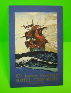 Hotel Traymore Atlantic City NJ Season's Greetings Post Card Clipper Pirate Ship