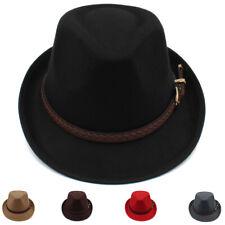 7b849104bca425 Men Women Solid Hard Felt Fedora Hats Trilby Caps Sunhat Jazz Gangster Size  M