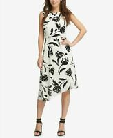 DKNY Size 14-16 WHITE & BLACK Floral Print Sleeveless ASYMMETRIC Hem Lined DRESS