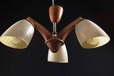 Antique Lampe À Suspension Culte Rétro Vintage De Design Art Déco Bois Verre