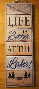 Lake House Sign LIFE IS BETTER Fishing Net Fisherman Cabin Lodge Home Decor NEW