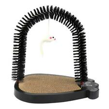 Cat Arch Self Groomer Shedding with Scratch Pad and Catnip For Cat Black