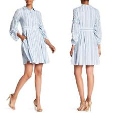 NEW TAYLOR Shirred Bell Sleeve BLUE Striped HAMPTONS Button Front SHIRT DRESS 10