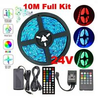 10M 5050 RGB LED Strip Light 600 Leds + Sound Sensor Controller+24V 1A Power Kit