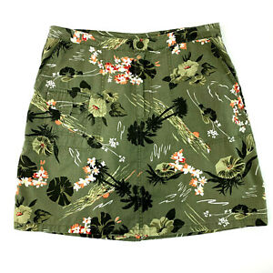 Columbia Womens Skirt Active Outdoor Floral Flap Pockets Green Multi Size M ?