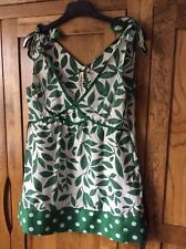 Pepe cotton/silk mix green/off white shoulder tie top size S (8) BNWOT