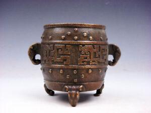 Vintage Brass Crafted Tripod Incense Burner w/ Elephant Handles #11291807