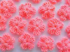 100 Pretty Crochet Wool Flowers - Bright Coral Pink Flower Embellishments!