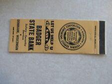 V444 Vintage Matchbook Cover Badger State Bank Denmark Wi Wisconsin