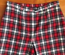 Pendleton Wool Pants Womens Red Plaid 28W Vintage Lined Flat Front Straight Leg
