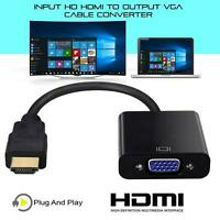 Input HDMI to HD VGA Output Cable iPhone Converter Black Adapter PC TV Monitor