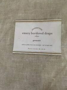 "Pottery Barn Emery Border Linen Drape 50"" x 96"" Beige/natural/navy Grommet"