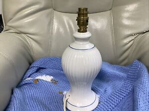 VINTAGE MARKS & SPENCER WHITE TABLE LAMP WITH BlUE LINE