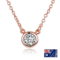 Women's 18K Rose Gold Plated 6mm Cute Crystal Pendant Necklace Jewelry Gift