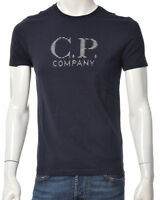 T-shirt Uomo CP Company 200A005100W Cotone Maglia Girocollo Blu Bianca Nuova