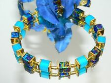Armband Würfel Cube Glas marmoriert royal türkis gold Polaris blau indigo  068r