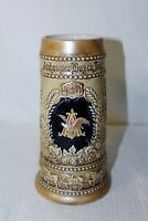 """Anheuser-Busch Tan Glaze Beer Stein """"THE WORLDS RENOWNED THE WORLDS LARGEST"""""""