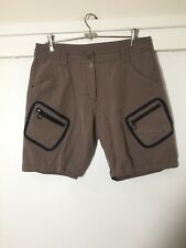 Vaude Ladies Brown Hiking Cargo Shorts Size Eur 42 Aus 14 W34 Inches Good Condt