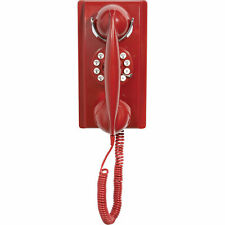 Crosley 302 Corded Push Button Dial Retro Vintage Wall House Telephone - Red
