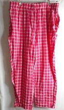 Woman Within Seersucker Hot pink Plaid pants  elastic waist Sz 22 W cotton