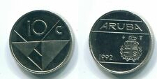 1992 ARUBA (Pays-Bas) 10 CENTS Nickel Colonial Coin #S13631.FW