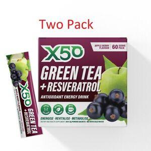 2X GREEN TEA X50 60 SERVES // WEIGHT LOSS DETOX ENERGY GLUTEN FREE ANTIOXIDANT
