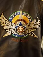 First Down Air Command Leather Aviation Bomber Jacket Coat 2xl