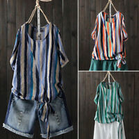 ZANZEA Women Summer Plus Size Front Tie Bow Rainbow Stripe Top Tee Shirt Blouse