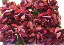 Millinery Flower Rose Dark Red Velvet Organza 12 Blossom Lot each is 4 1/2� Km8