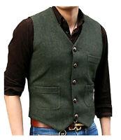 New Mens Suit V Neck Wool Blend Herringbone Tweed Casual Waistcoat Business Vest