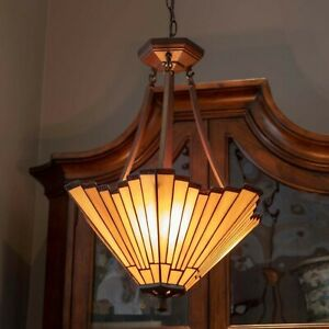 """Tiffany Style 2 Light Hanging Ceiling Pendant Beige White Stained Glass 18"""" W"""