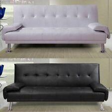 Divano letto 3 posti ecopelle bianco nero soggiorno sofa reclinabile moderno|bq