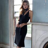 NWOT NakedCashmere Black Slip Spaghetti Straps Midi Sweater Dress Size Medium