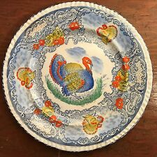 Antique Turkey Plate Blue White Staffordshire England Transfer Ware Painted