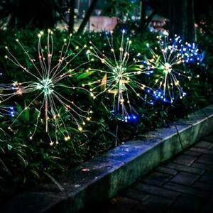2x 150LED Solar Powered Garden Path Firework Lights Starburst Stake Outdoor Lamp