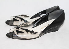 JACK ROGERS Wo's 9.5B Black Patent & Clear Lucite Peep Toe Wedge Pump