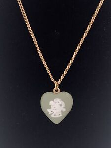 Vintage Wedgwood Cupid Green Jasperware Heart Pendant On Gold Tone Necklace