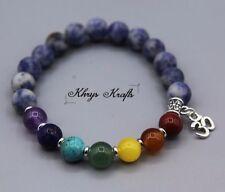 7 Chakra Healing Balance Beaded Yoga Bracelet with Silver Om Charm